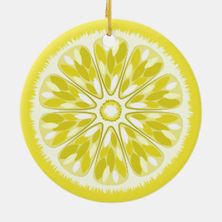 Citrus Slices Lemon Ceramic Ornament