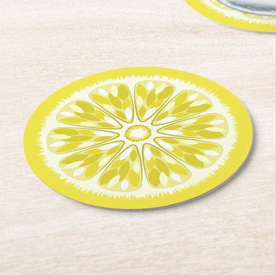 Citrus Slices Lemon Round Paper Coaster