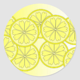 Citrus slices on trend bright colour classic round sticker