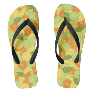 Citrus Slices with Leaves Flip Flops