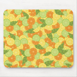 Citrus Slices with Leaves Mouse Pad