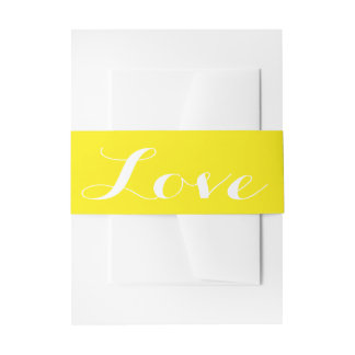 Citrus Sunny Yellow And White Love Wedding Invitation Belly Band