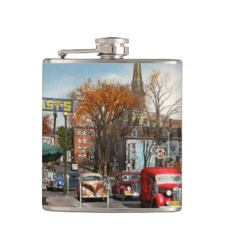 City - Amsterdam NY - Downtown Amsterdam 1941 Hip Flask