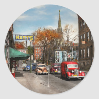City - Amsterdam NY - Downtown Amsterdam 1941 Round Sticker