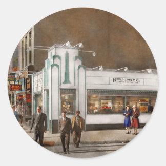 City - Amsterdam NY - Hamburgers 5 cents 1941 Classic Round Sticker