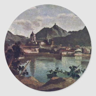 City And Lake Como, Italian: La Città E Il Lago Di Classic Round Sticker