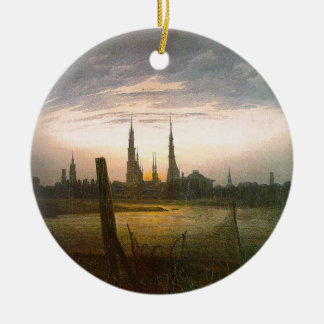 City at Moonrise by Caspar David Friedrich Round Ceramic Ornament