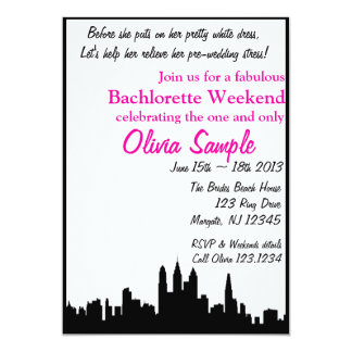"City Bachlorette Invitation 5"" X 7"" Invitation Card"