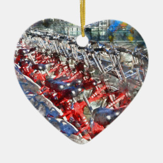 City Bicycles in Barcelona Ceramic Heart Ornament
