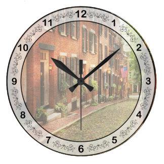 City - Boston MA - Acorn Street Large Clock