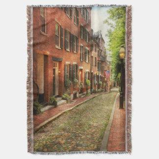 City - Boston MA - Acorn Street Throw Blanket