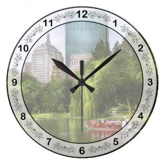 City - Boston Ma - Boston public garden Large Clock