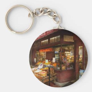 City - Boston Ma - Fresh meats and Fruit Basic Round Button Keychain