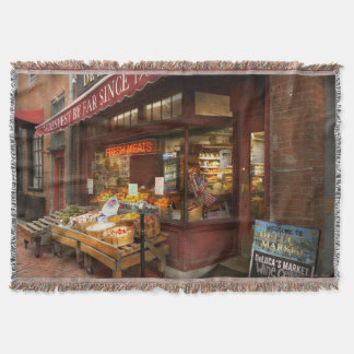 City - Boston Ma - Fresh meats and Fruit Throw Blanket