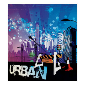 City buildings urban with closed road poster print