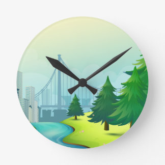 City buildings view with nature clocks