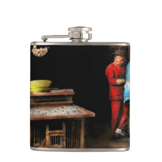 City - California - Fish Alley smells fowl 1886 Hip Flask