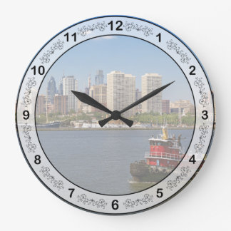 City - Camden, NJ - The city of Philadelphia Large Clock