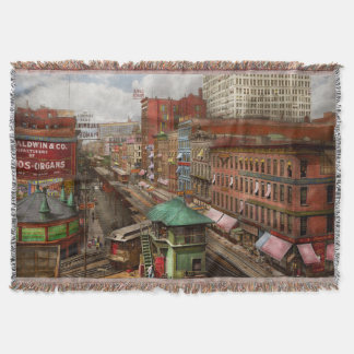 City - Chicago - Piano Row 1907 Throw Blanket