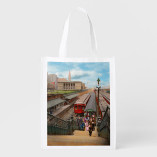 City - Chicago - The Van Buren Street Station 1907 Reusable Grocery Bag