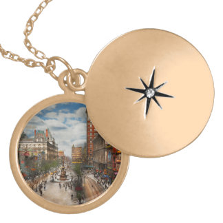 City Cincinnati OH - Tyler Davidson Fountain 1907 Gold Plated Necklace