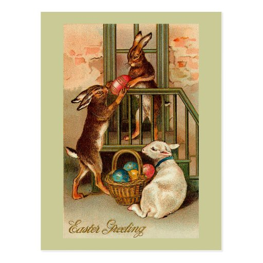 City Easter Bunnies With Lamb Postcard