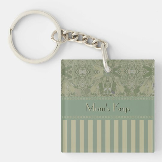 City Ethnic Abstract Coordinated Stripes Your Text Double-Sided Square Acrylic Keychain