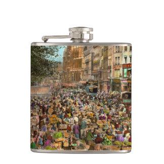 City - France - Les Halles de Paris 1920 Hip Flask