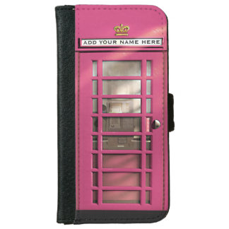 City Girl Funny Pink British Phone Booth iPhone 6 Wallet Case