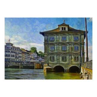 City Hall of Zurich on the banks of the Limmat Poster