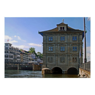 City Hall of Zurich. The banks of the Limmat. Poster
