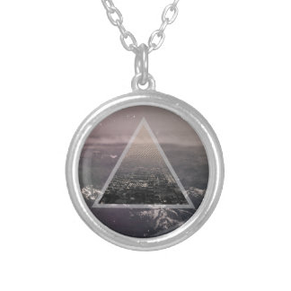 City in a triangle silver plated necklace