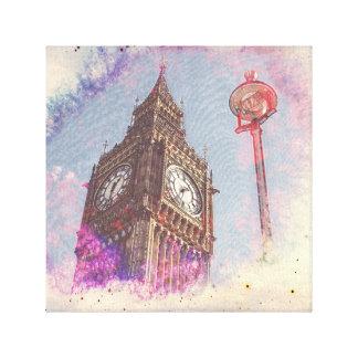 City in Nebula #purple Canvas Print
