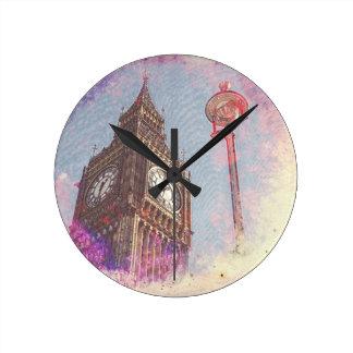 City in Nebula #purple Round Clock