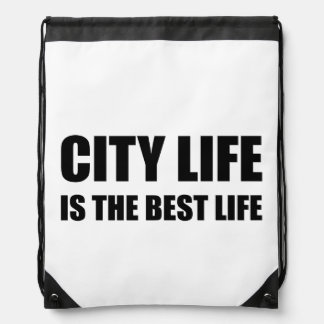 City Life Best Life Drawstring Bag