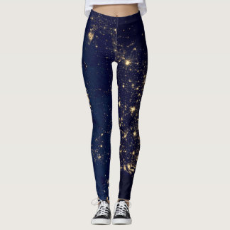 City lights from space leggings