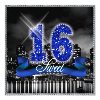 "City Lights Sweet Sixteen Blue ID118 5.25"" Square Invitation Card"