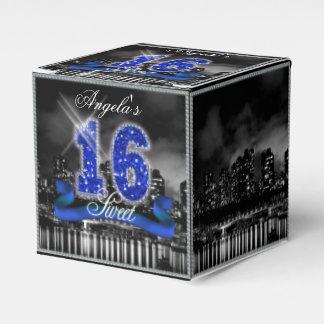 City Lights Sweet Sixteen Blue ID118 Wedding Favor Boxes