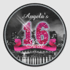 City Lights Sweet Sixteen Pink ID117 Classic Round Sticker