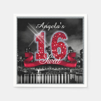 City Lights Sweet Sixteen Red ID242 Disposable Napkins