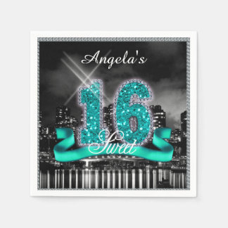 City Lights Sweet Sixteen Teal ID120 Disposable Napkins
