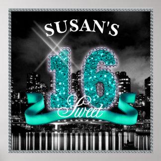 City Lights Sweet Sixteen Teal ID120 Poster