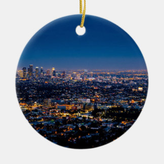 City Los Angeles Cityscape Skyline Downtown Ceramic Ornament