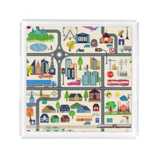 City Map Pattern Acrylic Tray