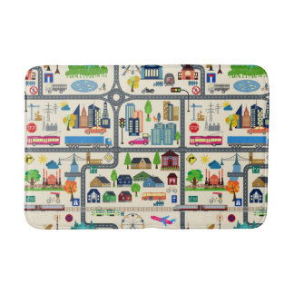 City Map Pattern Bathroom Mat