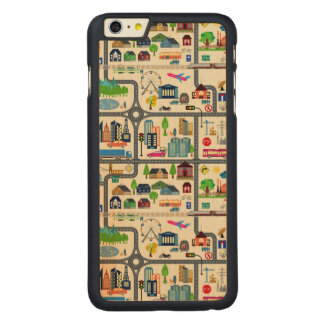 City Map Pattern Carved Maple iPhone 6 Plus Case
