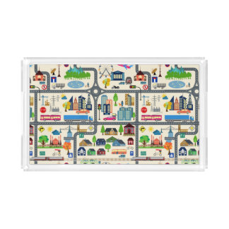 City Map Pattern Serving Tray
