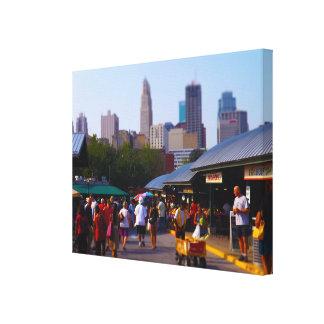 City Market and Downtown Kansas City Skyline Stretched Canvas Prints