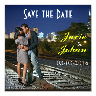 "City Nights Sunset Save the Date 5.25"" Square Invitation Card"
