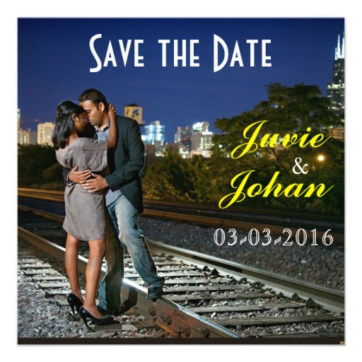 City Nights Sunset Save the Date Custom Announcements